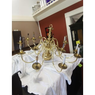 1970s 15 Light Colonial Brass Chandelier Preview