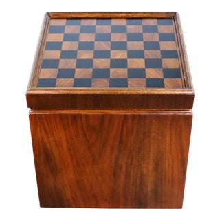 Mid Century Modern Lane Rolling Cube Storage Ottoman With Game Board Flip Table Top For Sale