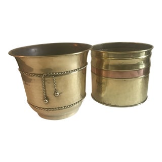Contemporary Hammered Brass & Copper Cachepots - a Pair For Sale