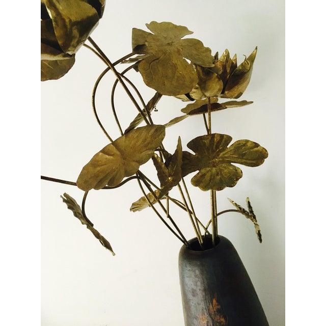 Brutalist Brass Flowers & Vase For Sale - Image 5 of 8