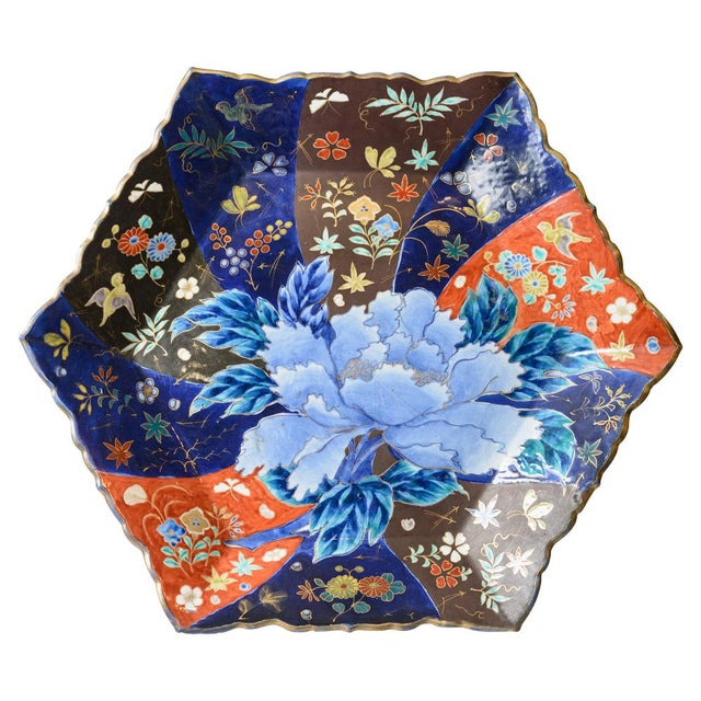 Blue C. 1850 Blue and Orange Floral Imari Charger For Sale - Image 8 of 8
