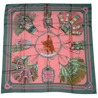 Hermes Silk Scarf Cuirs Du Desert Designed by Francoise De La Perriere For Sale