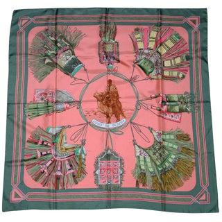 Hermes Silk Scarf Cuirs Du Desert Designed by Francoise De La Perriere For Sale