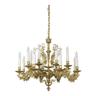 20th Century Traditional Sixteen Light Cast Brass Chandelier For Sale