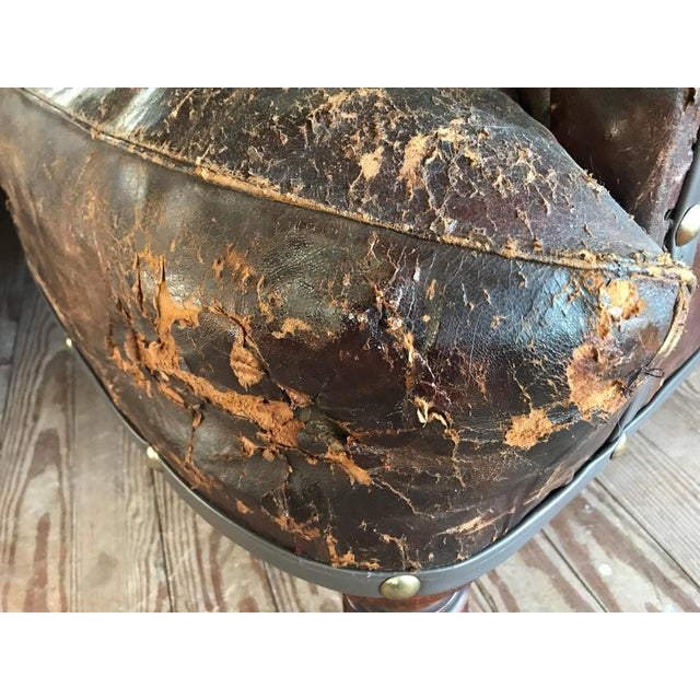 Old, Distressed Leather Club Chair For Sale - Image 10 of 10