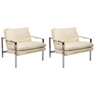 Milo Baughman for Thayer Coggin Mid-Century Modern Pair of Chrome Lounge Chairs For Sale