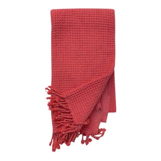 Watermelon Handwoven Waffle Knit Cotton Turkish Towel For Sale