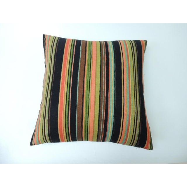 """Barkcloth """"Delray"""" Multi-Color Stripes Decorative Pillow For Sale In Miami - Image 6 of 6"""