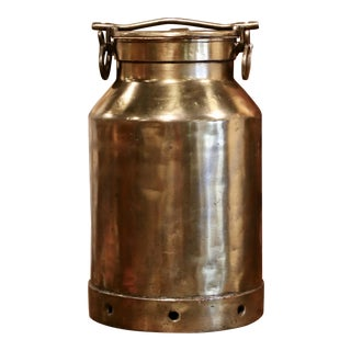 19th Century French Patinated Brass Milk Container With Handle and Lid For Sale