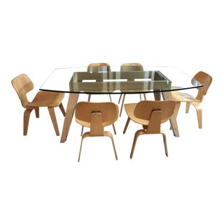 Eames by Herman Miller Lcw Mid-Century Modern Glass Dining Table & Chairs Set For Sale