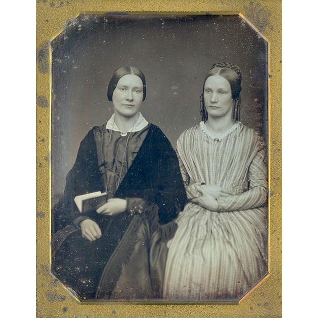 Antique 1/2 Plate Daguerreotype Portrait Sisters - Image 1 of 4