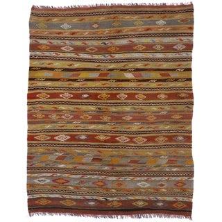 Vintage Turkish Flat-Weave Kilim Tribal Rug - 5′4″ × 6′9″