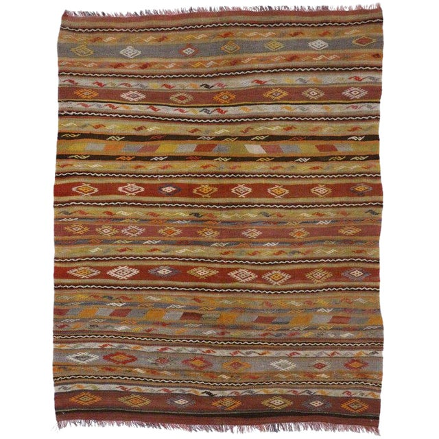 Vintage Turkish Flat-Weave Kilim Tribal Rug - 5′4″ × 6′9″ For Sale