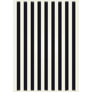 Black & White Striped European Rug - 5' X 7'