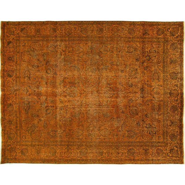 "Orange Tabriz Overdyed Area Rug - 9'10"" X 12'3"" - Image 1 of 10"