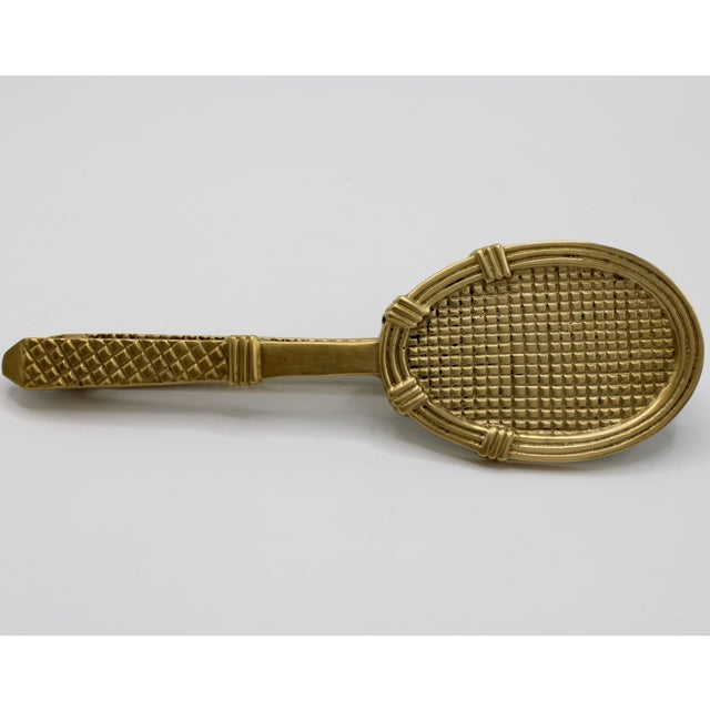Vintage Solid Brass Tennis Racket Door Knocker For Sale - Image 10 of 11