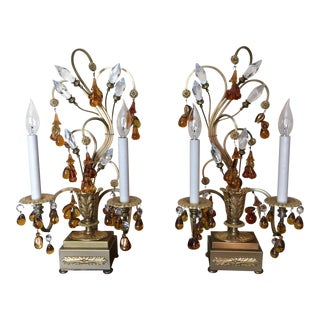 French Crystal and Gilt Brass Girandole Lamps - A Pair