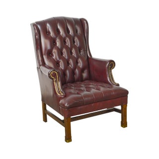 Chippendale Style Tufted Oxblood Leather Wing Chair by Hickory