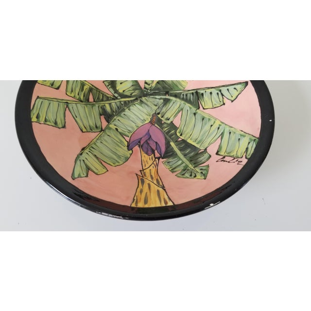 1980s 80's Vintage Tropical Decorative Ceramic Bowl , Signed . For Sale - Image 5 of 8
