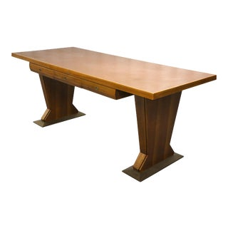 Magnificent Italian Desk Table Osvaldo Borsani Walnut Leather, Midcentury, 1940s For Sale