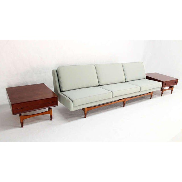 Danish Mid Century Modern Sofa With Built in Teak End Side Tables For Sale - Image 9 of 10