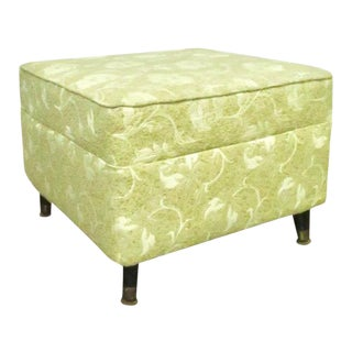 Floral Damask Mid Century Ottoman For Sale