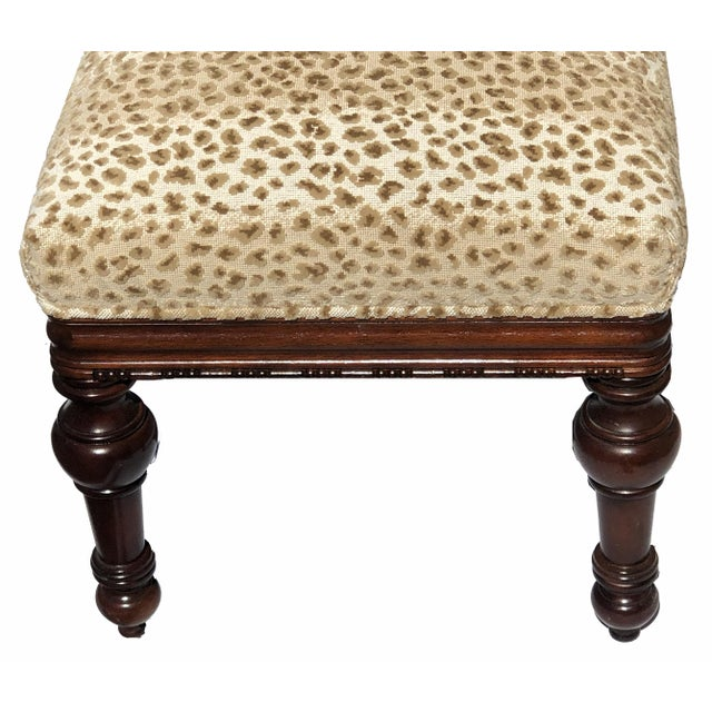 French Turned Leg Mahogany Louis XIII Style Bench Brand New Upholstery For Sale - Image 3 of 5