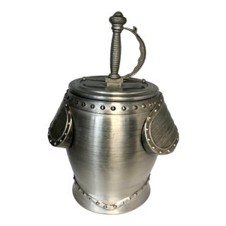 Vintage Brushed Metal Sword & Knight Armor Ice Bucket For Sale