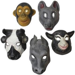 Set of Five Papier Mâché Animal Masks For Sale