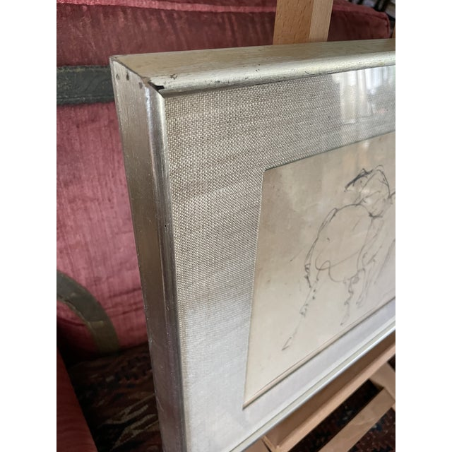 Paper 1961 Surrealist Style Abstract Graphite Drawing of a Horse by Walter Quirt, Framed For Sale - Image 7 of 9
