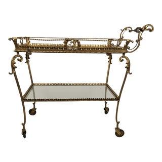 Mid Century Brass Italian Bar Cart For Sale