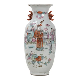 19th Century Chinese Qing Dynasty Porcelain Famille Rose Vase With Scene of Warrior in Orange Robes and Red Boat Handles For Sale