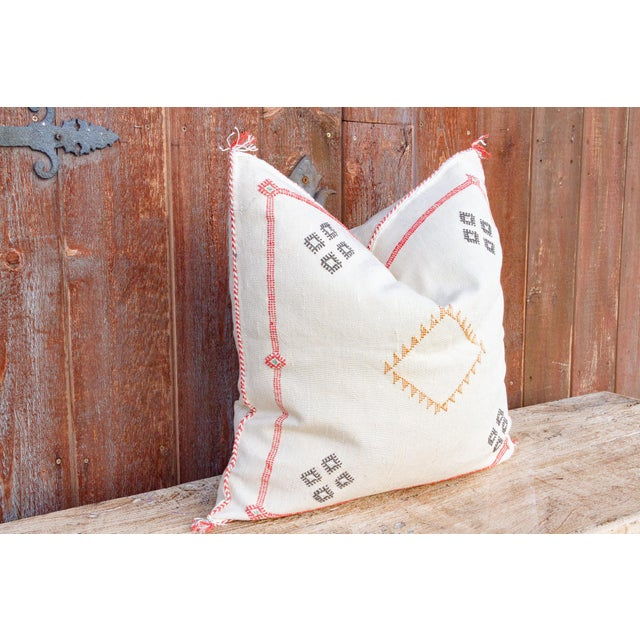 Tribal Helen Large Square Moroccan Silk Rug Pillow For Sale - Image 3 of 8