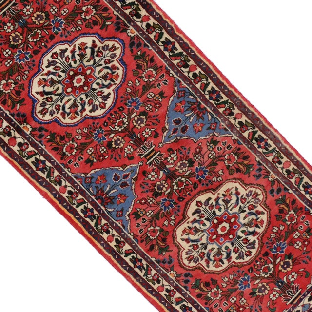 Vintage Persian Roudbar Runner With Jacobean Style, Persian Hallway Runner, 3' X 9'5 For Sale - Image 9 of 9