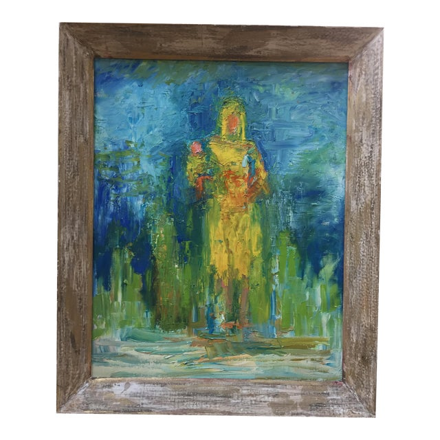 Mid-Century Original Painting of Mother & Child For Sale