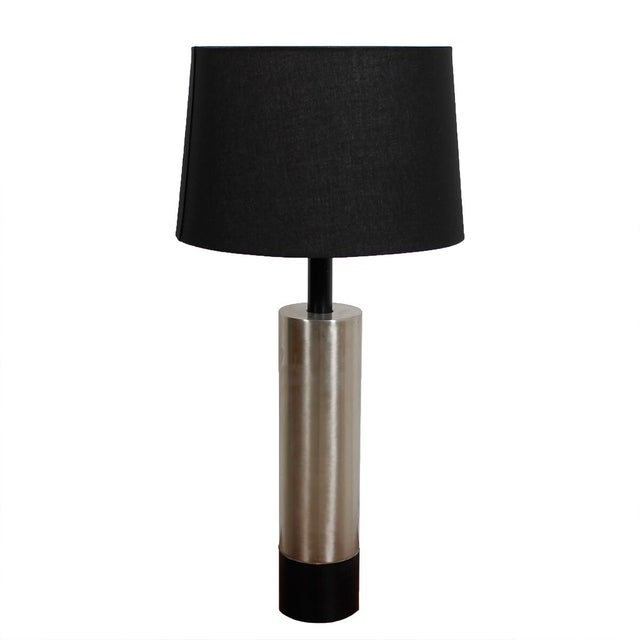 Mid-Century Modern Lamp With a Brushed Chrome Cylinder - Image 1 of 5