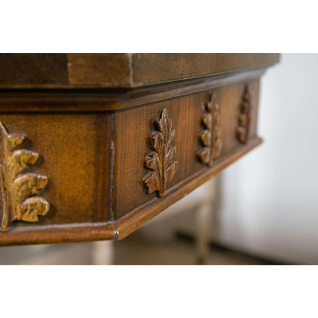 Pair of Neoclassical Style Detailed Carving Walnut Pedestal Console / End Tables For Sale - Image 9 of 9