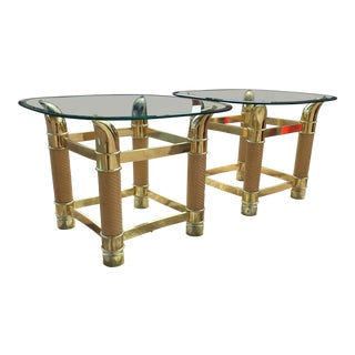 1970s Italian Brass Faux Tusk Side Tables - a Pair For Sale