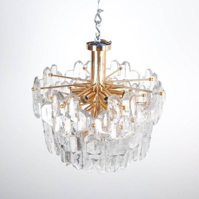 J.T. Kalmar Palazzo Flush Mount Lamp Gold Brass Glass, 1960 For Sale - Image 5 of 8