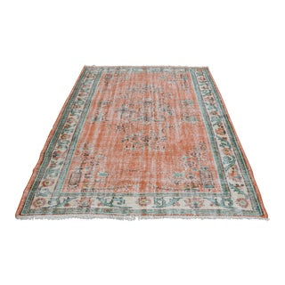 Modern Turkish Oushak Handwoven Orange Wool Floral Rug
