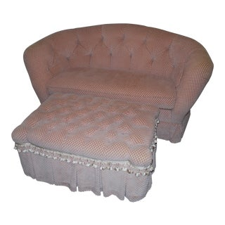 Baker Tufted Love Seat & Ottoman - a Pair For Sale