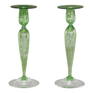 Steuben Pair of Handblown, Pomona Green Crystal Candlesticks For Sale