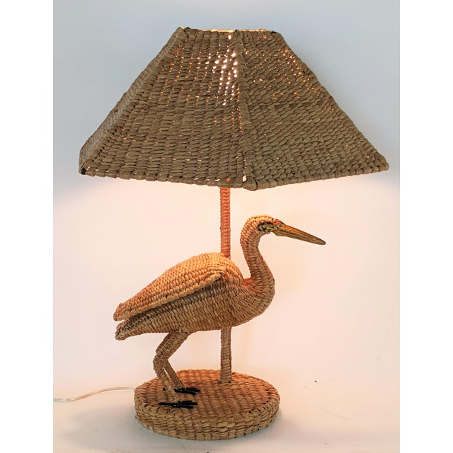Mario Lopez Torres Crane Table Lamp from the Tzumindi workshop in Michoacan Mexico. Brass Button also shows: Taller...