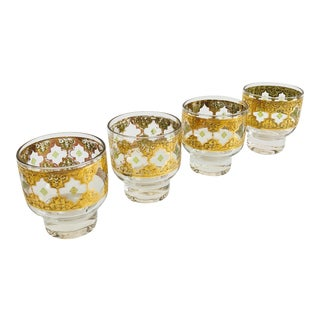 Mid Century Culver Valencia Short Cocktail Glasses - Set of 4 For Sale
