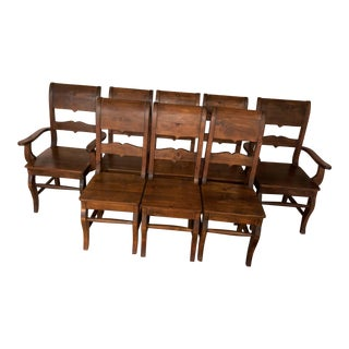 1990s Vintage Solid Wood Dining Room Chairs - Set of 8 For Sale