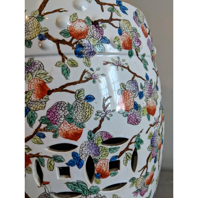 1980s Chinese Bird and Floral Detailed Enameled Porcelain Garden Stool For Sale - Image 4 of 12