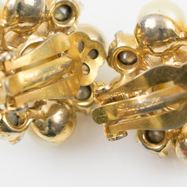 1960s Elsa Schiaparelli 1960s Clip-On Earrings Pearl Imitation & Borealis Rhinestones For Sale - Image 5 of 7