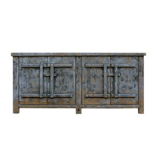 Distressed Pastel Black Gray White MIX High Credenza Console Buffet Table For Sale