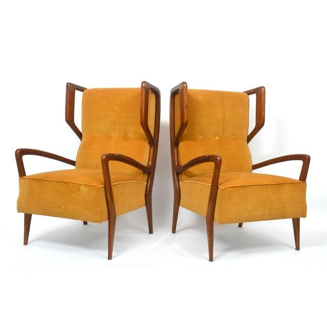 Rare Pair of Italian Modern Walnut Armchairs, Orlando Orlandi For Sale - Image 9 of 11