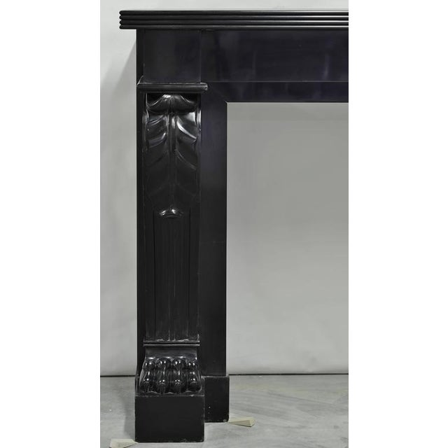 Marble Napoleon III Fireplace Mantel Executed in Black Marble, 19th Century For Sale - Image 7 of 8
